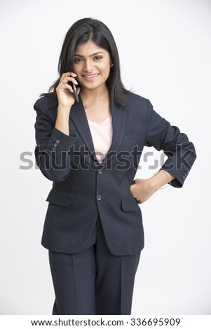 Smiling business woman phone talking, isolated on white background - stock photo