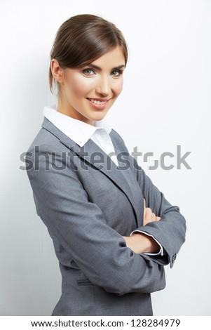 Smiling business woman portrait. Business suit dressed. - stock photo