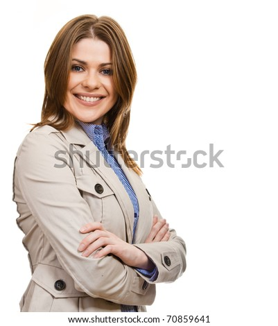 Smiling business woman portrait. Isolated over white background