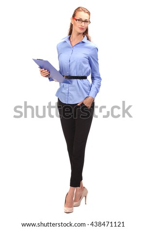 Smiling business woman portrait. White background.