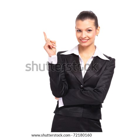Smiling business woman presenting - stock photo