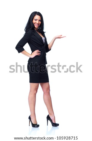 Smiling business woman presenting a copyspace. Isolated on white background.