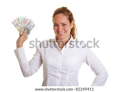 Smiling business woman showing a Euro money bill fan - stock photo