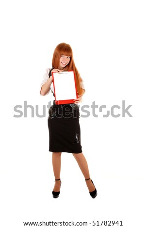 Smiling business woman showing empty board for text  isolated on white background - stock photo