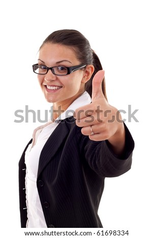 Smiling business woman showing ok on white background