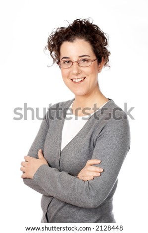 Smiling business woman standing over a white background