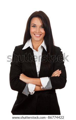 Smiling business woman standing with folded hands. Isolated over white background