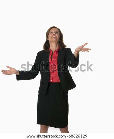 smiling business woman successfully juggling - stock photo
