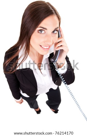smiling business woman talking on phone, isolated on white - stock photo