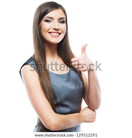 Smiling business woman thumb up show. isolated white background . - stock photo