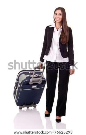 smiling business woman traveling, isolated over white background - stock photo