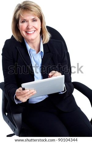 Smiling business woman with a tablet computer. Isolated over white background.