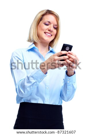 Smiling business woman with cell phone. Isolated over white background - stock photo