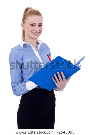 Smiling business woman with clipboard and pen isolated on white - stock photo
