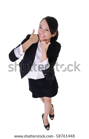 Smiling business woman with excitation expression, full length portrait isolated on white background. - stock photo