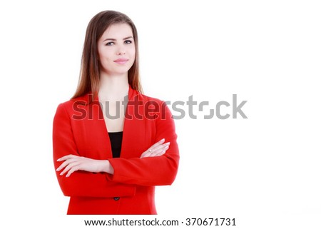 Smiling business woman with folded hands against white background