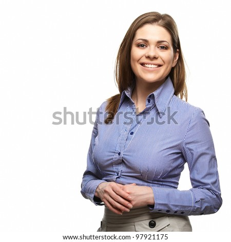 Smiling business woman with folded hands against white background. Toothy smile