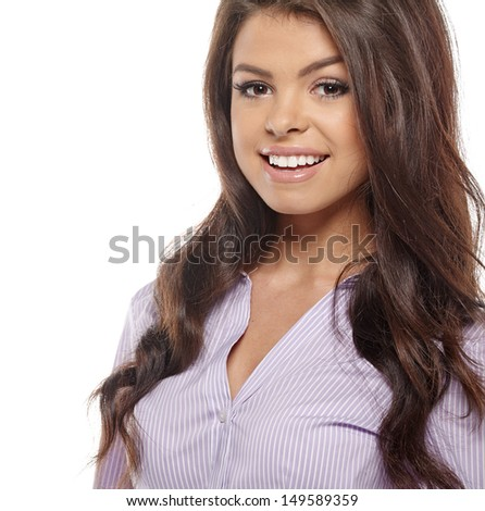 Smiling business woman with folded hands against white background. Toothy smile, crossed arms.