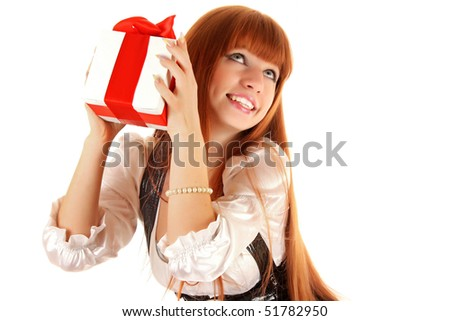 Smiling business woman with gift box isolated on white background - stock photo