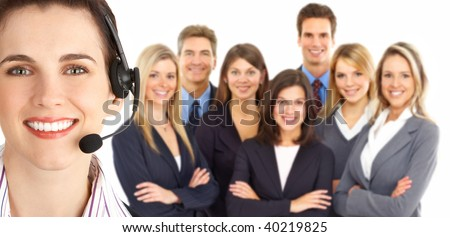 Smiling  business woman with headset in the office. Over white background - stock photo