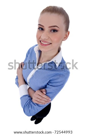 Smiling business woman with her arms crossed (isolated on white) - wide angle - stock photo