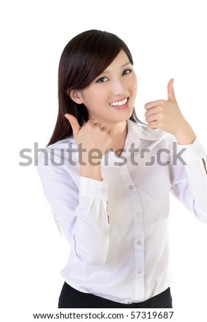Smiling business woman with joy thumbs up, closeup portrait of oriental office lady on white background. - stock photo