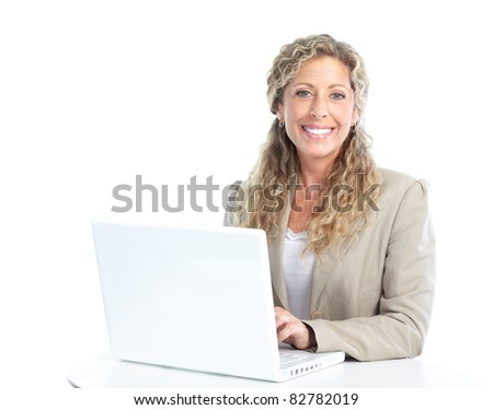 Smiling business woman with laptop. Isolated over white background. - stock photo