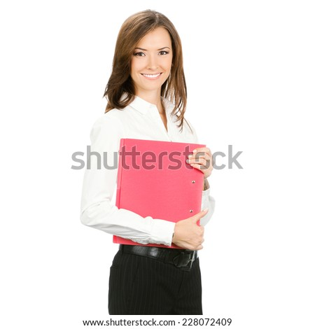 Smiling business woman with red folder, isolated over white background
