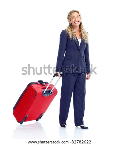 Smiling business woman with suitcase. Isolated over white background. - stock photo