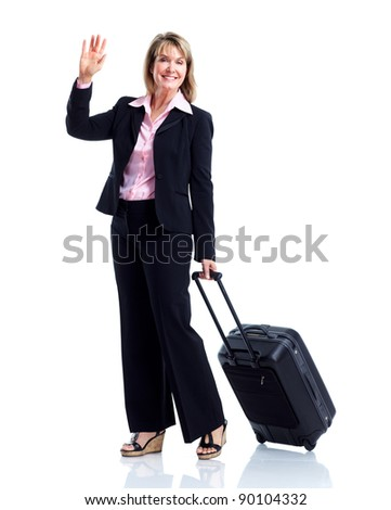 Smiling business woman with suitcase. Isolated over white background - stock photo