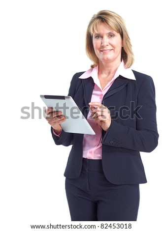 Smiling business woman with tablet computer. Isolated over white background - stock photo