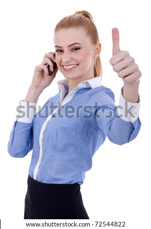smiling business woman with thumbs up gesture, isolated on white background - stock photo