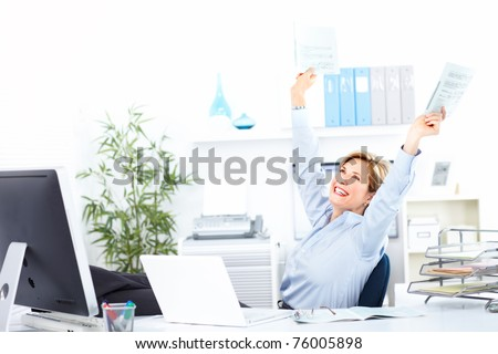 Smiling business woman  working at modern office - stock photo