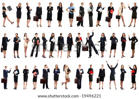 Smiling business women. Isolated over white background - stock photo