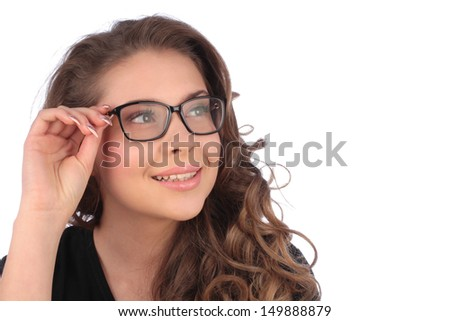 Smiling business young woman in glasses over white background
