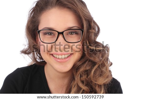 Smiling business young woman in glasses over white background - stock photo