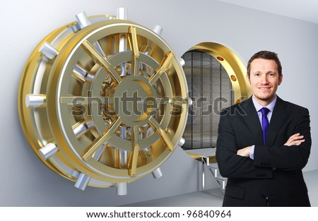 smiling businessman and 3d vault background - stock photo