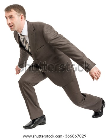 Smiling businessman balancing on empty space