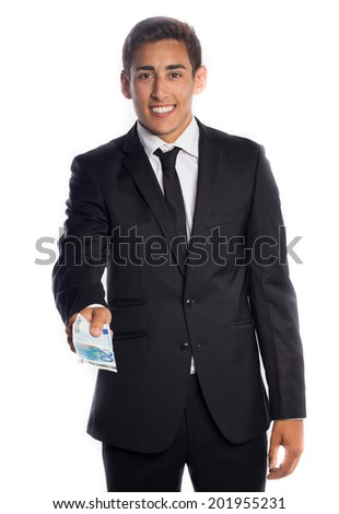 Smiling businessman giving a twenty euro banknote  - stock photo