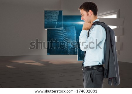 Smiling businessman holding his jacket against digitally generated room with bordered up window