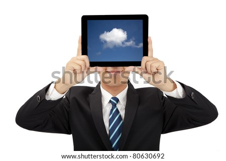 smiling businessman holding tablet pc and cloud thinking concept - stock photo