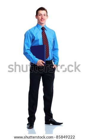 Smiling businessman. Isolated over white background.