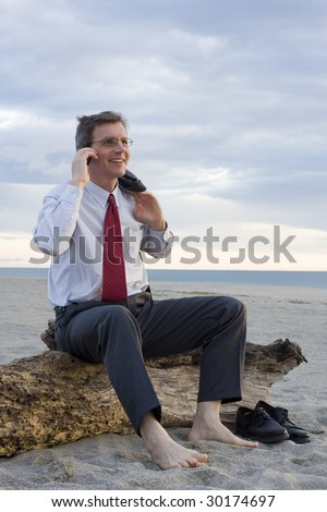Smiling businessman making a phone call on a beach while sitting on an old tree trunk - stock photo