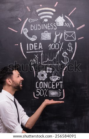 Smiling businessman on chalkboard background. Painted lightbulb with business ideas on chalkboard. Concept for success