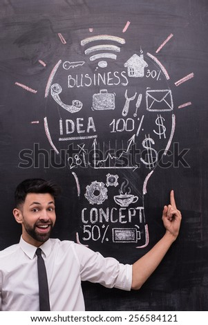 Smiling businessman on chalkboard background pointing at painted lightbulb with business ideas on chalkboard. Concept for success