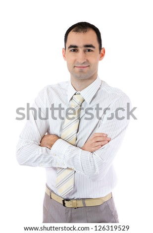 Smiling businessman posing on a white background. Portrait of a businessman