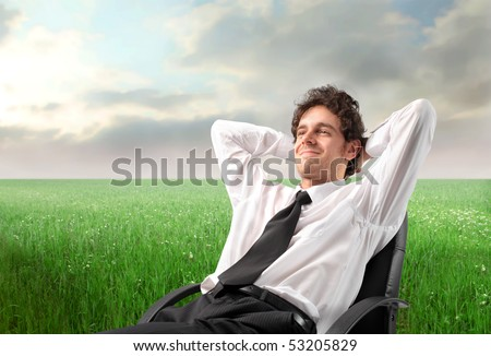 Smiling businessman relaxing on a chair on a green meadow - stock photo
