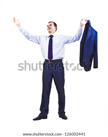 Smiling  businessman standing holding his jacket . Business man is in full length over a white background.