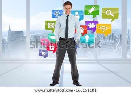 Smiling businessman standing with hands in pockets against book steps against sky