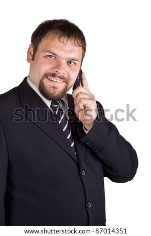 Smiling businessman talking on a cell phone, isolated on white background - stock photo